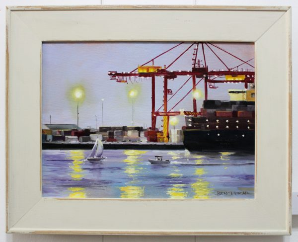 An original oil painting depicting the working port in Fremantle