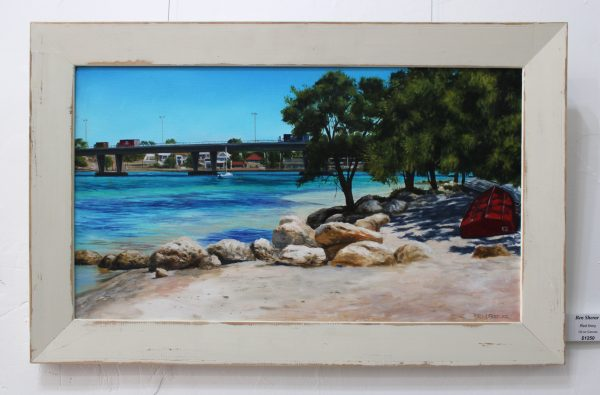 Red Tinny original oil painting depicting some dinghies parked on the shore in North Fremantle with a view of Stirling Bridge crossing the Swan River