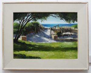 An oil painting of a sunlit pathway at South Fremantle's popular South Beach by Perth artist Ben Sherar