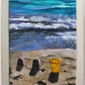 An original oil painting by Western Australian Artist Ben Sherar of breaking waves on a beach shore