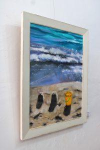 An original oil painting by Western Australian Artist Ben Sherar of breaking waves on a beach shore
