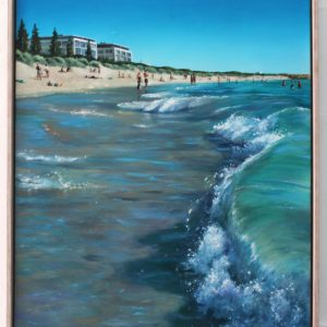 An original oil painting depicting a wave crashing on the shore in summer at popular South Beach in South Fremantle