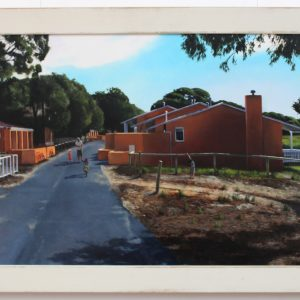 Original oil painting by Ben Sherar of the cottages on Vlamingh way Rottnest Island Perth WA