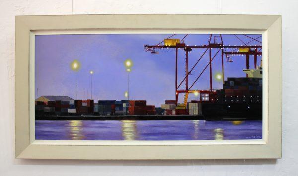 An original framed oil painting depicting Fremantle's working port at dusk