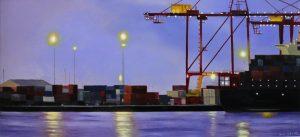 An original oil painting depicting Fremantle's working port at dusk
