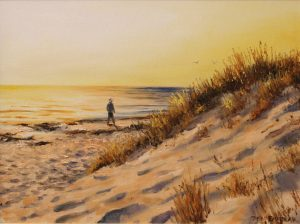 An oil painting depicting the late afternoon sun on a beach in Perth Western Australia