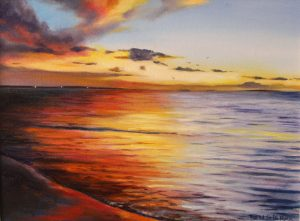 An original oil painting of a sunset on the Indian Ocean