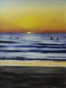 An original oil painting depicting a sunset at one of Perths popular beaches in summer