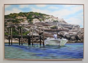 An original oil painting of the jetty at Gnarabup beach in Margaret river, Western Australia