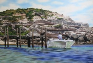 An original oil painting of the jetty at Gnarabup beach in Margaret river