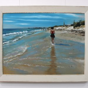 A painting depicting an afternoon at Port beach in North Fremantle