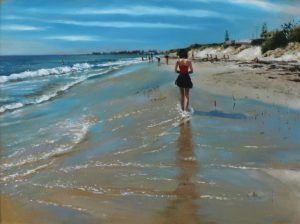 An oil painting depicting Port beach in North Fremantle