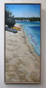 A framed oil painting of some dinghies parked on the North Fremantle shore of the Swan River