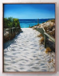 An original framed oil painting of a pathway down to a beach on the Indian ocean