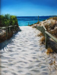 An oil painting of a pathway down to South Beach South Fremantle