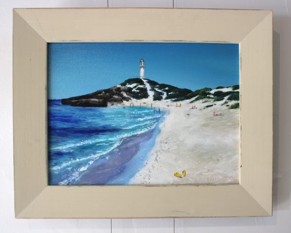 A painting depicting Bathurst Lighthouse overlooking Pinky's Beach on Rottnest Island
