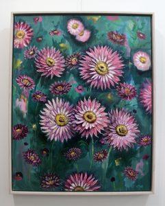 An original mixed media painting by Kiya Kalem depicting pink everlasting flowers
