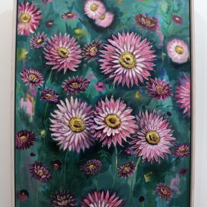 An original mixed media painting by Kiya Kalem depicting pink everlasting flowers