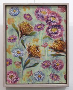 An original oil painting by Kiya Kalem showing a range of flowers