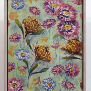 An original oil painting by Kiya Kalem showing a range of flowers