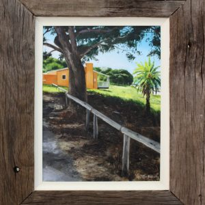 An original oil painting by Ben Sherar depicting a shaded view of a cottage on Rottnest Island