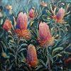 An original oil painting by Western Australian Artist Kiya Kalem depicting Banksia Blooms in the sun