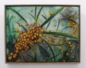 An original oil on canvas by Western Australian Artist Kiya Kalem depicting some Wattle Blooms