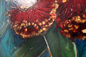 An original mixed media painting by Kiya Kalem depicting some flowering gum blossoms against a blue background