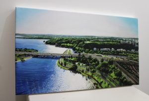 A fine art print on canvas from the original painting by Ben Sherar depicting a view above Elizabeth Quay in Perth