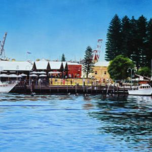 An original oil painting by Western Australian Artist Ben Sherar showing a view of Fremantle's Fishing Boat Harbour