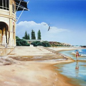 An original oil painting by Western Australian Artist Ben Sherar depicting a high tide at Perth's popular Cottesloe Beach