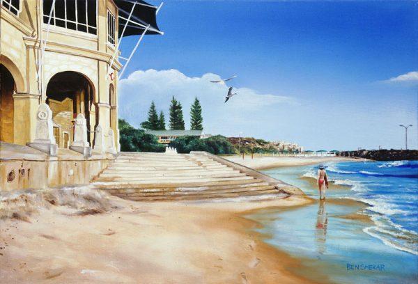 An original oil painting by Western Australian Artist Ben Sherar depicting a high tide at Perth's popular Cottesloe Beach