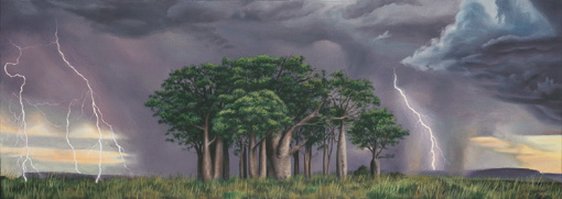An original oil painting by Ben Sherar depicting a lightning storm over a stand of Boab trees in Western Australia's rugged north east