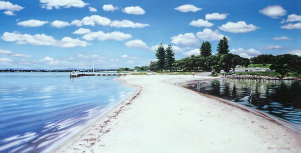 An oil painting by Western Australian Artist Ben Sherar showing the view on the sandbar at Melville's Point Walter