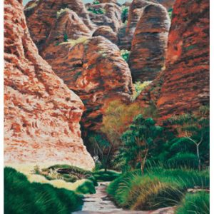 An original oil painting by Ben Sherar depicting the iconic sandstone rock formations in the East Kimberley's Purnululu National Park