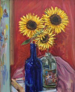 An original oil painting by Western Australian Artist Kiya Kalem depicting some bright yellow sunfloer blooms in a blue jar
