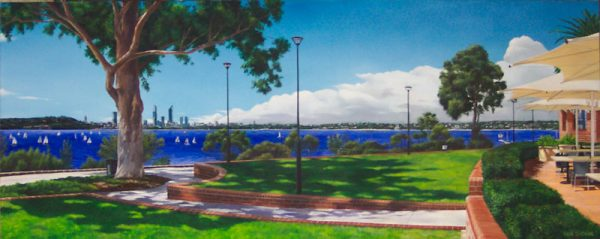 An original oil painting by Ben Sherar depicting the view from Point Heathcote across to the city of Perth