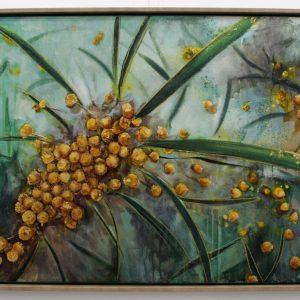 An original oil on canvas by Western Australian Artist Kiya Kalem depicting some Wattle Blooms