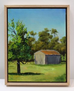 A painting of an old shed in Western Australia's southwest