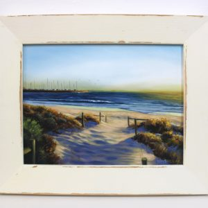 An original oil painting of Bather's Beach in Fremantle by Western Australian Artist Ben Sherar