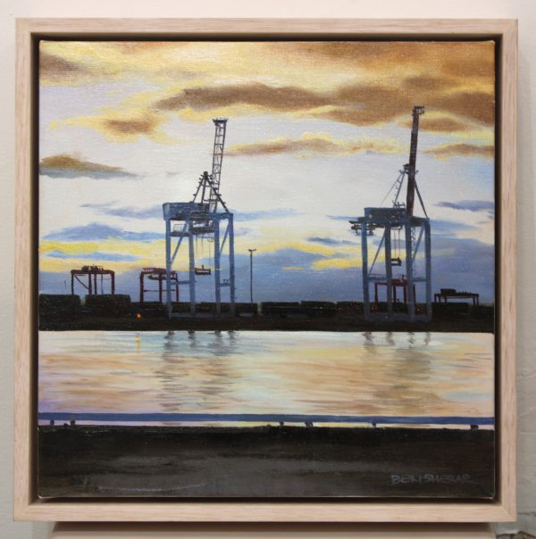 An original oil painting by Western Australian Artist Ben Sherar depicting dusk at Fremantle's historic working port