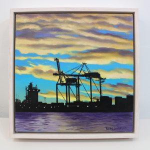 An original oil painting of sunset ofer the Port of Fremantle by Western Australian Artist Ben Sherar