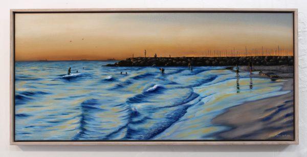 An original oil painting by Western Australian Artist Ben Sherar depicting dusk at South Fremantles popular South Beach