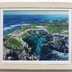 An original oil painting by Western Australian Artist Ben Sherar depicting an aerial view above Fishhook Bay on the Western point of Rottnest island