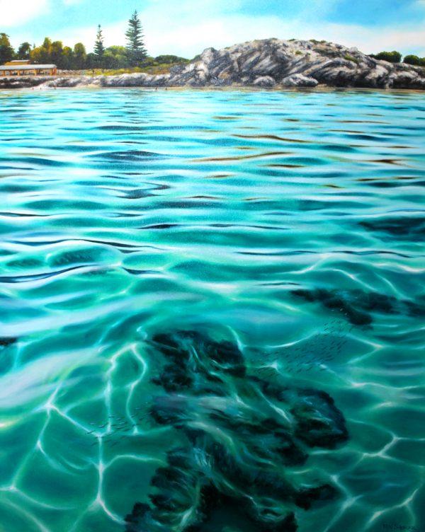 An original oil painting by Western Australian Artist Ben Sherar depicting The Basin on Rottnest island